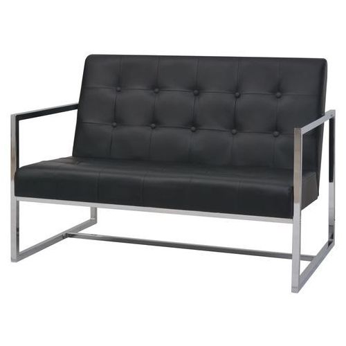 Vidaxl 2-osobowa sofa z podłokietnikami, sztuczna skóra i stal, czarna (8718475590828)