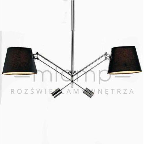 Abażurowa LAMPA sufitowa PESSO nero Orlicki Design regulowana OPRAWA chrom czarna, kolor Czarny