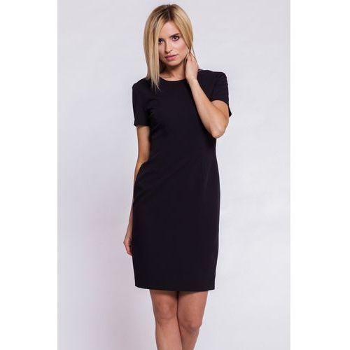 Bialcon Czarna, dopasowana sukienka z krótkim rękawem -