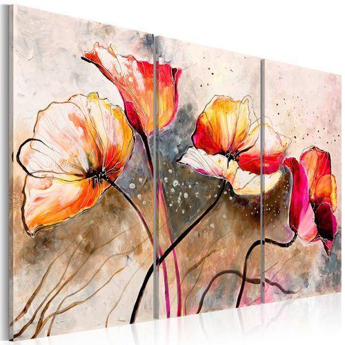 Artgeist Obraz malowany - maki smagane wiatrem