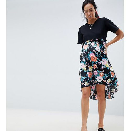 Asos maternity Asos design maternity mixed print smock mini dress with hi low hem - multi