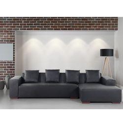 Sofa narożna L – skórzana – drewniane nóżki - głęboka czerń - LUNGO - produkt z kategorii- Narożniki