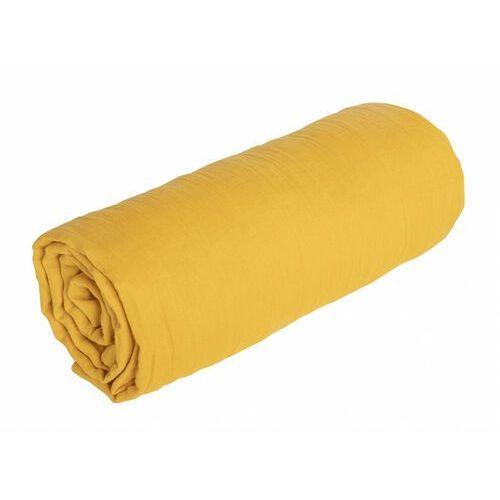 Prześcieradło z gumką LEGERO z muślinu bawełnianego – 200 × 200 cm – kolor musztardowy