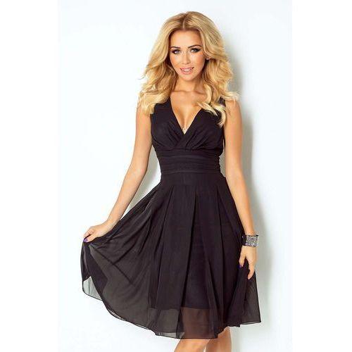 Czarna Sukienka Wieczorowa z Szyfonu z Dekoltem V, 1 rozmiar