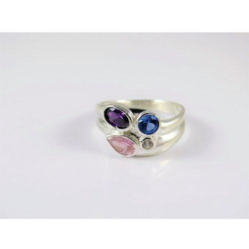 Srebrny pierścionek 925 KOLOROWE OCZKA r. 15