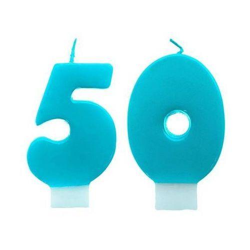 Party deco Świeczki cyferki turkusowe - 50 - pięćdziesiątka - 2 szt.