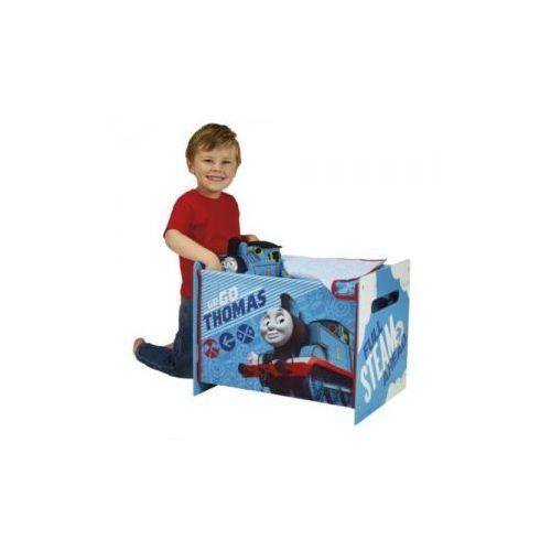 Skrzynia na zabawki drewno+materiał, TOMEK I PRZYJACIELE
