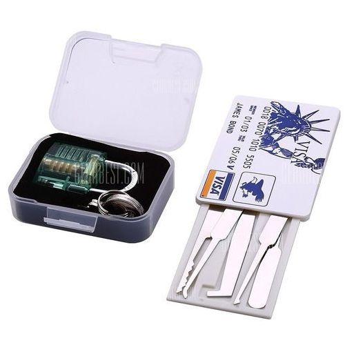 S-63 Mini Transparent Practice Padlock + Credit Card Lock Pick Set Locksmith Tool