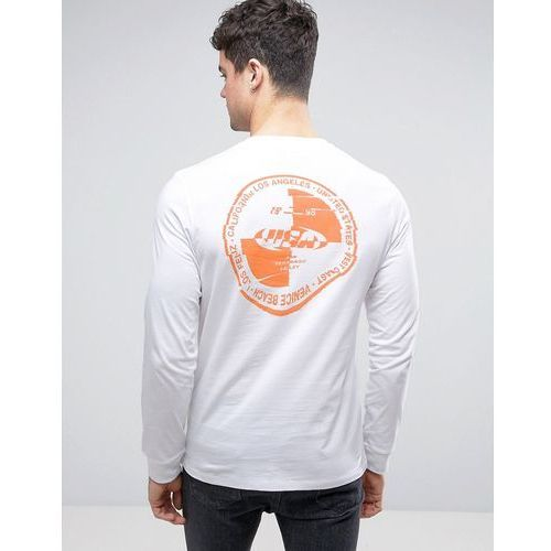 River island  long sleeve t-shirt with warped orange back print in white - white
