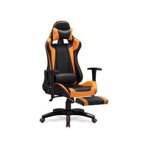 Fotel gamingowy Halmar DEFENDER 2-pomarańczowy z podnóżkiem