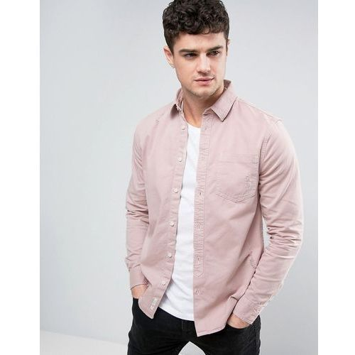 River island  regular fit denim shirt with distressing in pink wash - pink