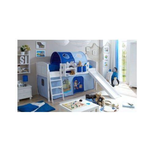 TICAA Łóżko ze zjeżdżalnią EKKI sosna white Country Pirat kolor jasnoniebieski/ciemnoniebieski (4250393873804)