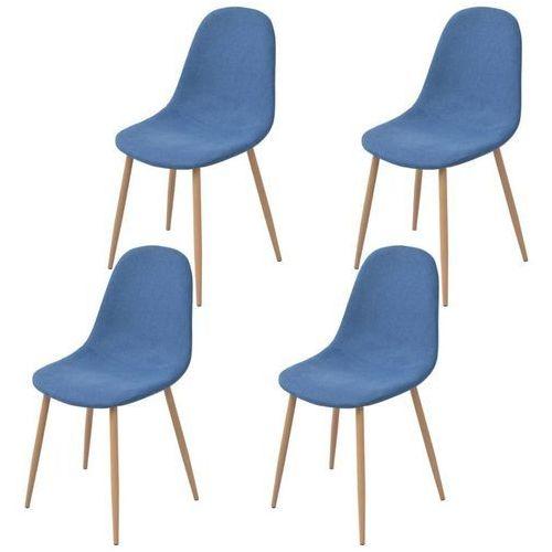 Krzesło do jadalni 4 szt., tapicerowane tkaniną, niebieską