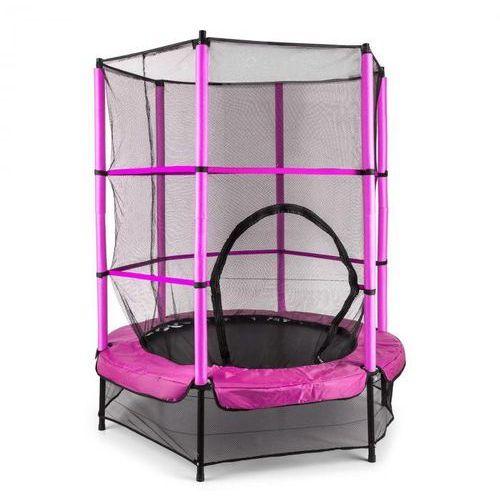 Klarfit rocketkid trampolina 140cm siatka bezpieczeństwa wewnątrz, sprężyny bungee, różowa (4260395866643)