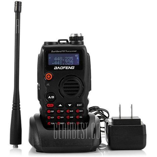 Gearbest Baofeng a - 52 vhf / uhf dual band programmable walkie talkie two - way radio fm transceiver handheld interphone with flashlight