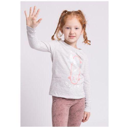 Longsleeve dla małych dziewczynek JTSDL100z - szary melanż, (J4Z17-JTSDL100) JTSDL100 - szary melanż