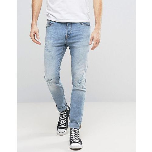 Only & Sons Slim Fit Stretch Jeans with Abrasion in Light Blue Wash - Blue, slim