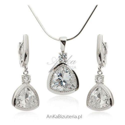 Komplet srebrnej biżuterii - Piękna biżuteria ślubna, kolor szary