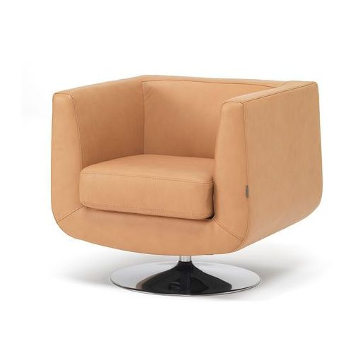 Wygodny fotel obrotowy tapicerowany skórą w kolorze naturalnym skóry - sprawdź w wybranym sklepie