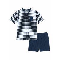 Piżama z krótkimi spodenkami ciemnoniebiesko-biały w paski marki Bonprix