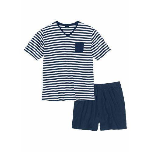 Piżama z krótkimi spodenkami bonprix ciemnoniebiesko-biały w paski, kolor niebieski