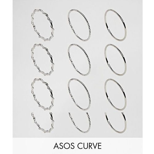 Asos curve pack of 12 wrap and faceted rings - silver