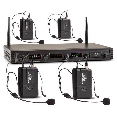 duett pro v3 4-kanałowy bezprzewodowy zestaw mikrofonowy uhf zasięg 50m marki Malone