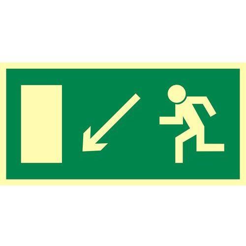 Kierunek do wyjścia drogi ewakuacyjnej w dół w lewo (znak uzupełniający)