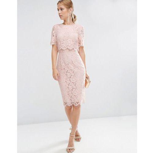 Asos  Lace Crop Top Midi Pencil Dress - Pink, różowa
