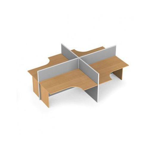 B2b partner Zestaw parawanów biurowych ze stołem ergonomicznym, tekstylny, 4 miejsca, brzoza