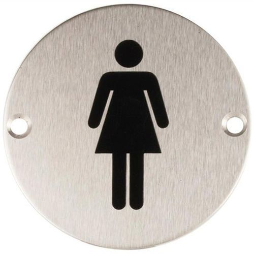 Oznaczenie toalet metalowe okrągłe - WC damskie mocowane na wkręty, 22.23.261-0