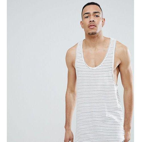 tall longline vest in stripe with curved hem - cream, Bellfield