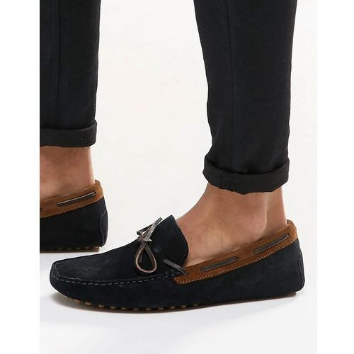 driving shoes in navy suede with brown leather detail - navy marki Asos