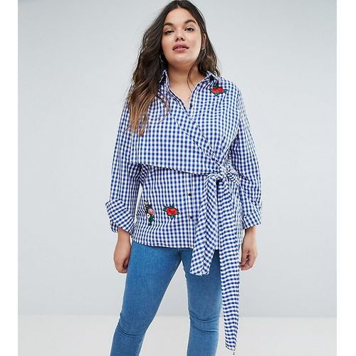 gingham shirt with tie front and badges - multi, Asos curve