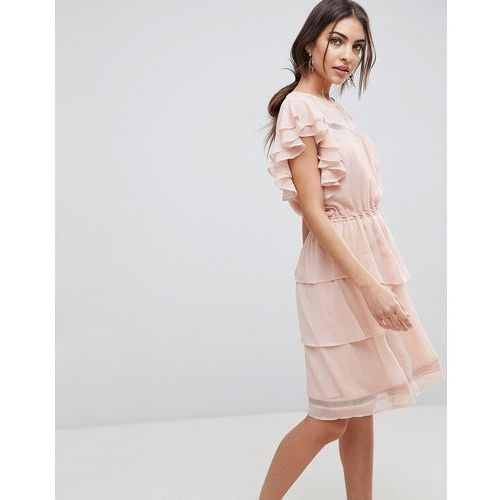 Y.A.S ruffle mini skater dress with lace in pink - Pink