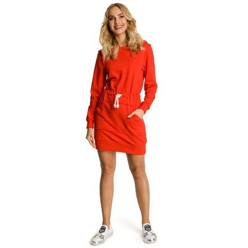 a6ab7944f2 Czerwona Sukienka Sportowa Mini z Kapturem