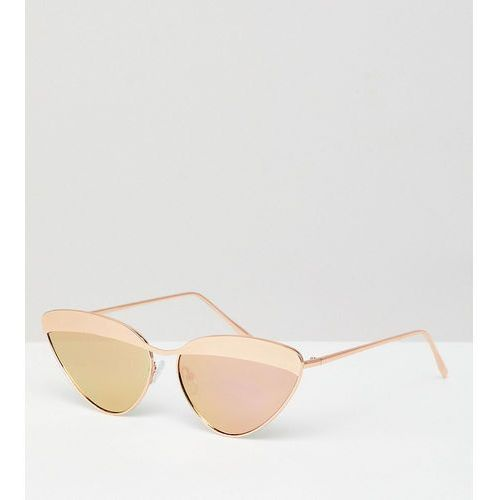 ASOS DESIGN Metal Rose Gold Cat Eye Sunglasses With Laid In Metal Highbrow - Gold