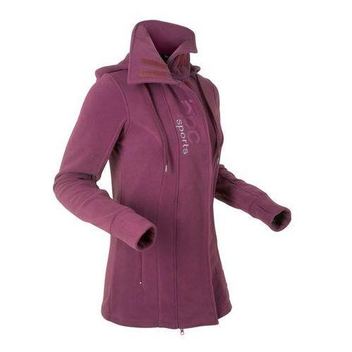 Długa bluza z polaru, długi rękaw jeżynowy, Bonprix, 36-50