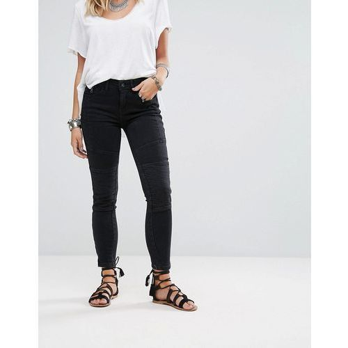 Free People Moto Magic Skinny Jeans - Black, kolor czarny