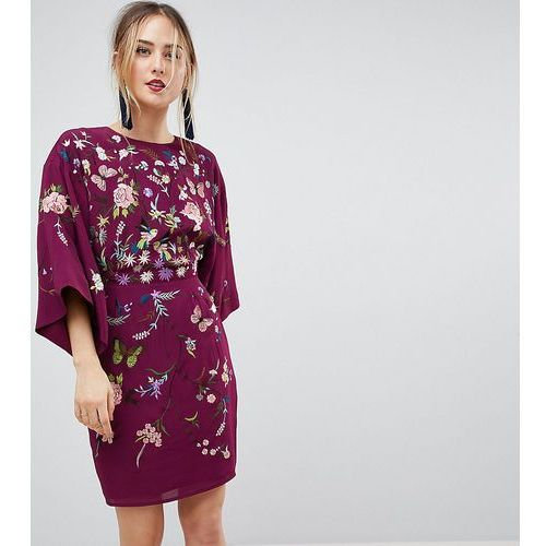 ASOS TALL Kimono Mini Dress with Embroidery - Purple