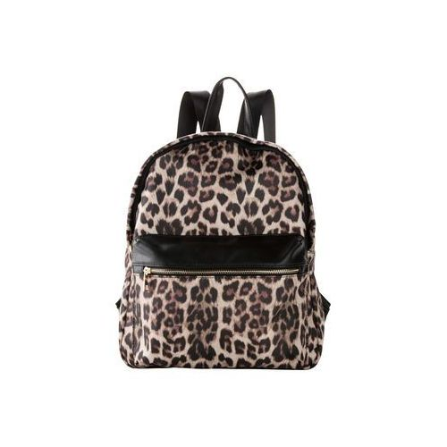 Bonprix Plecak w cętki leoparda czarno-ciemnobrązowo-jasnobrązowy