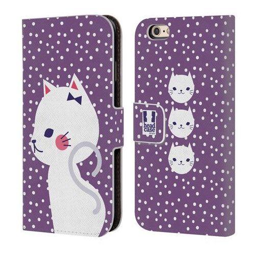 Head case Etui portfel na telefon - cats and dots white cat in purple