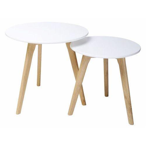 Zestaw stolików kawowych SLOW DUO - biały MDF, nogi dębowe