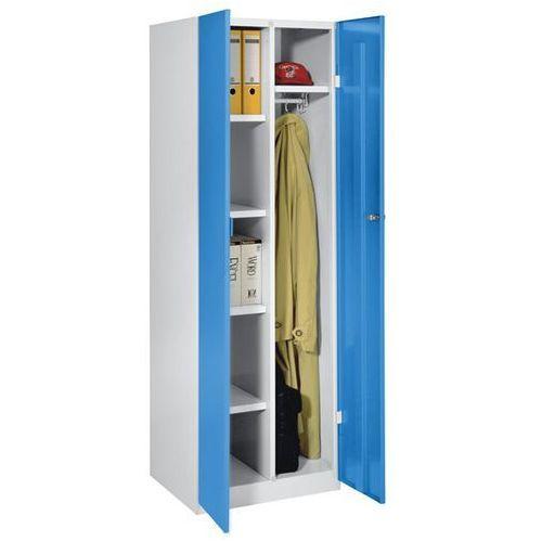 Szafa stalowa, szer. 600 mm, 4 półki, 1 garderoba, drzwi jasnoniebieskie. Do każ