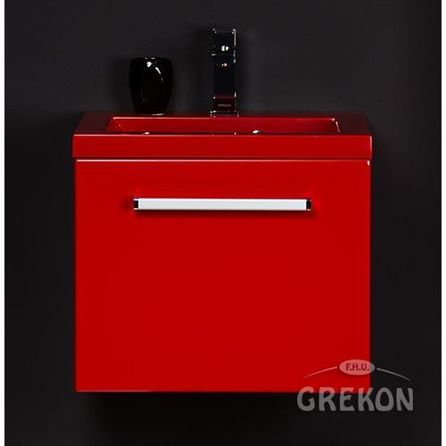 Czerwona szafka wisząca z umywalką 50/39CZ seria Fokus CZ