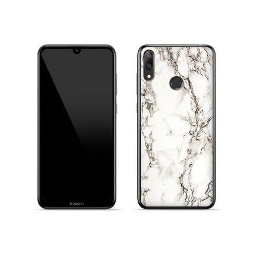 Huawei Y7 Prime (2019) - etui na telefon Fantastic Case - biały marmur, kolor biały