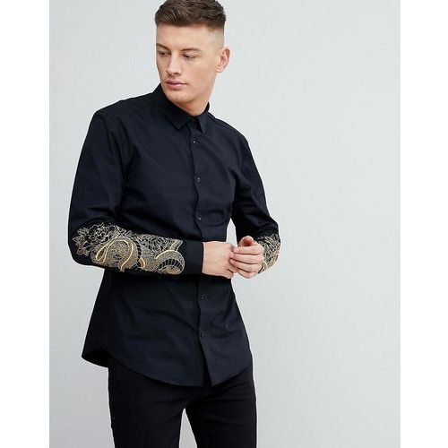 slim fit shirt with snake embroidery in black - black, River island, XS-L