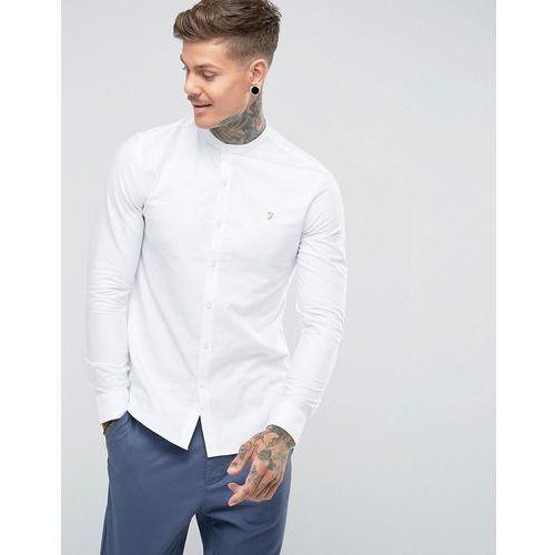 brewer slim fit grandad collar oxford shirt in white - white marki Farah