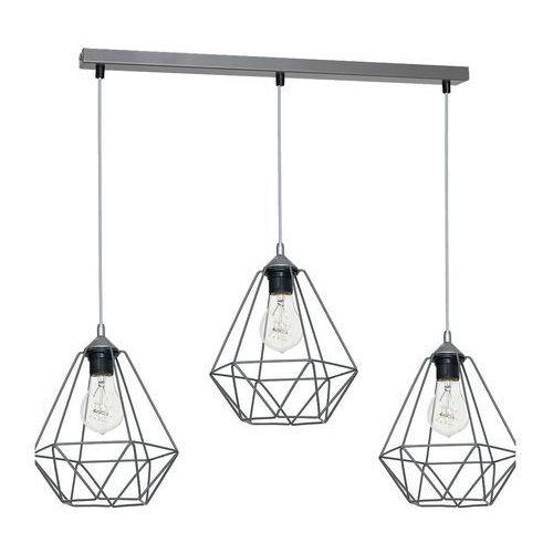 Luminex Lampa wisząca basket 7217 lampa sufitowa diament 3x60w e27 szary