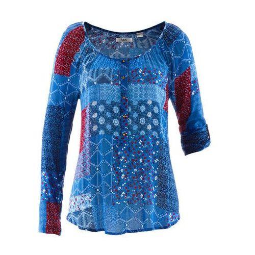 Bonprix Tunika kreszowana, długi rękaw niebieski chagall wzorzysty